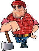 Lumberjack,Occupation,Job - Religious Figure,lumber jack,Men,Working,Timber,Smiling,Isolated,Ilustration,Tree Surgeon,Agriculture,Art Product,Beanie Hat,Lumber Industry,Characters,Hefty Brand
