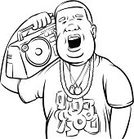 Clip Art,Humor,Outline,Vector,Ilustration,black-and-white,Coloring Book,Black And White,T-Shirt,Singing,Human Face,People,Men,African Ethnicity,Boom Box,Radio,Listening,White Background