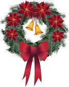Wreath,Christmas,Poinsettia,Garland,Vector,Single Flower,Holiday,Christmas Decoration,Frame,Bow,Bell,Gold Colored,Bow,Decoration,Red,Gold,Isolated,Green Color,Clip Art,Ribbon,Ribbon,Ilustration,Part Of,Illustrations And Vector Art,Christmas,Holidays And Celebrations,Vector Ornaments