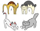 Domestic Cat,Animal,Ilustration,Pets,Stretching,Waking up,Vector,Slim,hand drawn,Humor,Full Length,Side Way,Short Hair,Long,Flexibility,Cute,Long Hair,Front View,White Background,Drawing - Art Product,Overweight,Old English Sheepdog,Set,Four Animals,Calico,Abyssinian Cat,Persian Cat,Animal Body