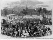 Slavery,American Civil War,Banner,Arts And Entertainment,Concepts And Ideas,People,Visual Art,Parades & Processions,Time,Looking At Camera,Wisdom,Mpi Cw 457,Expertise,American Culture,Horizontal,Black And White,North America