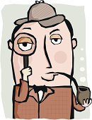 Sherlock Holmes,Detective,Mystery,Forensic Science,Pipe,Cartoon,Spy,Magnifying Glass,Ilustration,Deerstalker Hat,Vector,One Person,New Scotland Yard,Scientific Experiment,Exploration,Learning,Examining,Arts And Entertainment,Head And Shoulders,Close-up,Smoke - Physical Structure,Studio Shot,Colored Background,Portrait,Character Traits,Looking At Camera,Looking Through An Object,Smoking,Cinema,Concepts And Ideas,People,Curiosity,Front View,Holding,Color Image,Vertical