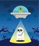 Kidnapping,Kidnapper,Night,Spaceship,Alien,Mid-Air,Ghost,Cemetery,Flying,Vector,Picking Up,Hostage,Mystery,Ilustration,City,Light Beam,Field,Stealing,UFO