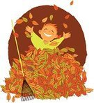 Autumn,Child,Leaf,Falling,Family,Fun,Rake,Playful,Lifestyles,Play,Little Boys,Happiness,Vector,One Person,Chores,Cartoon,Smiling,Cheerful,Ilustration,Front or Back Yard,Childhood,Neat,Activity