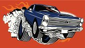Muscle Car,Car,Drag Racing,Cartoon,Smoke - Physical Structure,Vector,Fire - Natural Phenomenon,Flame,Tire,Wheel,1960s Style,Classic,Image Created 1960s,Ilustration,Vector Cartoons,Transportation,Ford Fairlane,Illustrations And Vector Art