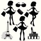 Shoe,Travel Destinations,Sunglasses,Tower,Black Color,International Landmark,French Culture,Silhouette,Paris - France,Eiffel Tower,Beauty,Shopping,Teenager,Adult,Illustration,Women,Teenage Girls,Vector,Fashion,Capital Cities,Beautiful People