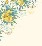Summer,Design,Vector,Blue,Springtime,Blob,Butterfly - Insect,Backgrounds,Spraying,Blossom,Flower Head,Flowering Plant,Style,Ornate,Temperate Flower,Nature,Plant,Yellow,Flower,Abstract