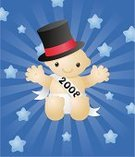 Baby,New,Year,years,New Year's Eve,Deflated,Hat,Vector,New Year's Day,Banner,Party - Social Event,Cheerful,Babies Only,Happiness,Ilustration,Holiday,Top Hat,Celebration,New Year,Smiling,Cute,Holiday Symbols,Vector Cartoons,Holidays And Celebrations,Exploding,Star Shape,2008,Illustrations And Vector Art