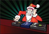 Club Dj,Santa Claus,Christmas,Music,Party - Social Event,Humor,Turntable,Nightclub,Sound,Headphones,Disco Dancing,Beard,Mustache,Record,Meeting,Life Events,Plastic,Smiley Face,Celebration,Music,Red,Medical Record,Christmas,Vector Cartoons,Illustrations And Vector Art,Record Player Needle,Holidays And Celebrations,Arts And Entertainment,Celebration Event,Opportunity