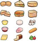 Sandwich,Vector,Ham,Bread,Ilustration,Food And Drink,Meal,Set,Backgrounds,Baguette,Yellow,Slice,Sausage,White,baggette,Vegetable,Tomato,Gourmet,Isolated,Healthy Lifestyle,Lettuce,Edible Mushroom,Single Object,Healthy Eating,Food,Cheese,Cucumber,Dip,Eat,Burger