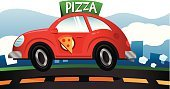 Car,Pizza,Delivering,Cartoon,Food,Road,Speed,Take Out Food,Land Vehicle,Driving,Red,Vector,Bouncing,Transportation,Mode of Transport,Ilustration,Fast Food,Pepperoni Pizza,Transportation,Vector Cartoons,Junk Food/Fast Food,Illustrations And Vector Art,Convenience,Unhealthy Eating,Economy Car,Food And Drink