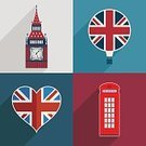 Telephone Booth,UK,Hot Air Balloon,White,Red,Famous Place,Blue,Decoration,Vector,Symbol,Ilustration,Clock Tower,Greeting Card,Big Ben,British Culture,Backdrop,Knick Knack,Flag,Cultures,Clock,British Flag,Patriotism,Heart Shape