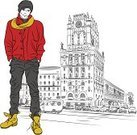 Sketch,Youth Culture,Men,Fashion,Funky,Autumn,Jacket,Modern,Travel,Bus,City Of Center,Traffic,Street,City,Avenue,Capital Cities,Building Exterior,Window,Springtime,Boot,Jeans,Tower,Tourism,Hat,House,One Person,Vector,freehand,Architecture,Minsk,Built Structure,Clock,Business,Urban Scene,Backgrounds,Cityscape,Outdoors,Town,Famous Place,Walking,Belarus,Elegance,Little Boys,Station Square,Ilustration,People,Transportation,Season,History