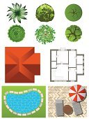 Plant,Formalwear,Architecture,Construction Industry,Nature,Outdoors,Residential District,Mansion,Paintings,Plant,Roof,Surrounding,Building - Activity,Pattern,Bush,Tree,Flowerbed,Gardening,Grass,General,Blueprint,Illustration,Vector
