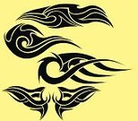 Curve,Black Color,Wing,Tattoo,Collection,Decoration,Vector,isolated object,Clip Art,Ink,Set,Abstract,Art