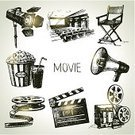 Film Reel,Old-fashioned,Megaphone,Retro Revival,Film Industry,Movie,Camera - Photographic Equipment,Sketch,Old,Film,Camera Film,Popcorn,Computer Icon,Symbol,Director,Accessibility,Design,Design Element,Photograph,Motion,Drink,Eyesight,Cinematographer,Vector,Drawing - Art Product,Single Object,Equipment,Studio,Computer Graphic,Non-Urban Scene,Isolated,Record,Cinema Hall,Industry,Paintings,Collection,Pencil Drawing,Classic,Chair,Film Slate,Painted Image,Action,Sign,Stage Lighting,Multimedia,Set,Ilustration