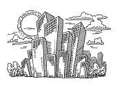 Urban Scene,Drawing - Art Product,Business,Doodle,Office Building,Urban Skyline,Awe,Black And White,Architecture,Sunny,Cloud - Sky,Tree,Real Estate,Clip Art,Black Color,hand drawn,Isolated On White,Pen And Marker,Single Object,No People,Ilustration,Design Element,City Life,Building Exterior,Skyscraper,Horizontal,Sky,Sun,Day,Outdoors,White,Vector,Transparent,Positive Emotion,Tall,Sketch,Line Art,Simplicity,Built Structure,Bent,Cityscape,black-and-white