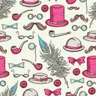 Elegance,Single Object,Ilustration,Fashion,Whisker,Backgrounds,Eyeglasses,Pattern,Spotted,Symbol,Bow Tie,Men,History,Drawing - Activity,Eternity,Hat,Mustache,People,Collection,Vector,Monocle