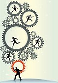 Gear,Men,Ideas,Business,People,Male,Urgency,Businessman,Speed,Engineer,Teamwork,Business Person,Electrical Component,Vertical,Silhouette,Professional Occupation,Ilustration,Occupation,Abstract,Cooperation,Control,Group Of People,Expertise,Vector,Leadership,Working,Turning,Machine Part,Composition