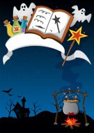 Ribbon,House,Spooky,Night,Ilustration,Vector,Cartoon,Jewish Sabbath,Ghost,Backgrounds,Poster,Halloween,Magic Wand,Book,Boiling,Cooking Pan,Magic