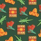 Mexican Culture,Blanket,Backgrounds,Cowboy Boot,Ilustration,Wallpaper Pattern,Vector,Green Color,Yellow,Boot,Seamless,Pattern,Ethnic,Red,Reptile,Hat,Orange Color,Decoration,Lizard,Cultures,Sombrero