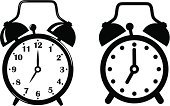 Alarm Clock,Clock,Black Color,White,Black And White,Set,Timer,Clock Face,Vector,Ilustration,Symbol,Countdown,Time