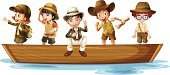 Explorer,River,People,Adventure,Excitement,Little Boys,Fun,White Background,Sitting,Standing,Computer Graphic,Clip Art,Nautical Vessel,Exploration,Single Object,Vector,Group of Objects,Series,Mystery,Looking,Backpack,Hat,Bag,Stream,Transportation