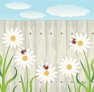 Flower,Plank,Beauty In Nature,Branch,Chamomile Plant,Cloud - Sky,Backgrounds,Bright,Bill,Vector,Wood - Material,Summer,Sheet,Nature,Petal,Colors,Ornate,Paintings,Mortar and Pestle,Stamen,Textured Effect,Environmental Conservation,White,Ladybug,Insect,Fence,Animal,Plant,Green Color,Ilustration,Design