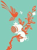 Pomegranate,Bird,Flower,Retro Revival,Tree,1940-1980 Retro-Styled Imagery,Blossom,Orange Color,Red,Nature,Japanese Culture,Asia,Ilustration,Modern,Turquoise,Zen-like,Plant,Floral Pattern,Computer Graphic,Sign,Abstract,Cool,Silhouette,Bud,Vector,Springtime,Clip Art,Friendship,Branch,Symbol,Chinese Culture,Art Deco,Fabolous,Sparse,Beautiful,East Asian Culture,Design,Style,Cute,Ornate,Elegance,Contrasts,Decoration,Beauty In Nature,Curve,Classical Style,Exoticism,Birds,Nature Backgrounds,Season,Animals And Pets,Nature,Flowers
