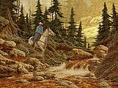 Cowboy,Horse,Painted Image,Mountain,Wild West,Stream,River,Rancher,Landscape,Pine Tree,Photography,Uncultivated,One Man Only,Extreme Terrain,Wilderness Area,Travel Locations,One Animal,Color Image,Rock - Object,Tree,Nature,Forest