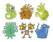 Collection,Monster,Animal,Isolated,Ilustration,Characters,Humor,Parasitic,Individuality,Group Of Animals,Cruel,Contagion,Cartoon,Medicine,Dirty,Group of Objects,Set,Protozoan,Bacterium,Virus,Illness,Evil,Unhygienic,Healthcare And Medicine
