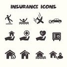 Insurance,Icon Set,Symbol,Monochrome,Healthcare And Medicine,Life,Physical Injury,Care,Silhouette,Falling,People,Travel,Risk,Real Estate,Security,Heart Shape,Damaged,Airplane,Stealing,Human Hand,Black Color,Vector,Safety,Isolated,Thief,White,Car,House,Protection,Flood,Accident,Fire - Natural Phenomenon