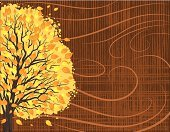 Wind,Blowing,Falling,Autumn,Tree,Poster,Branch,Textured Effect,Nature,Swirl,Horizontal,Textured,Gold Colored,Backgrounds,Yellow,Design,Brown,Striped,Ilustration,Vector,Copy Space,Leaf,Orange Color,template