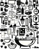 Old-fashioned,Domestic Bathroom,Dental Floss,Toothpaste,Candle,Toothpick,Towel,Shampoo,Relaxation,Exoticism,Isolated,Ilustration,Bathtub,Beauty Product,Mirror,Bottle,Slipper,Abstract,Composition,Symbol,Monochrome,Set,Washing,Falling Water,Washcloth,Scissors,Soap Sud,Toilet Paper,Hygiene,Comb