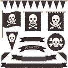 Torn,Bunting,Banner,Black Color,Flag,Decoration,Copy Space,Knick Knack,Tapestry,Ribbon,Vector,Wall Hanging,Isolated,Old,Symbol,Sword,Pirate,Sign,Ilustration,Human Skull,Skull and Crossbones,Badge,Insignia,White