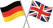 Symbol,Vector,English Culture,British Culture,Pole,Europe,Isolated On White,White Background,German Flag,German Culture,Germany,Ilustration,UK,British Flag,Waving,Flag,Curve,England,Two Objects,National Flag