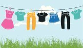 Clothesline,Clothing,T-Shirt,Hanging,Vector,Dress,Drawing - Art Product,Clothespin,Dry,Garment,Blue,Blouse,Wind,Shirt,Top - Garment,Computer Graphic,Cloud - Sky,Housework,Concepts,Sky,Rope,Season,Washing,Fashion,Design Element,Air,Design,Skirt,Freshness,Summer,Front or Back Yard,Backgrounds,Ilustration,Outdoors,Wet,Mini Skirt,Textile,Laundry