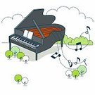 Sheet Music,Music,Note,Piano,Grand Piano,Play,Musical Instrument,Letter,Note Pad,Studying,Learning,Education,Dotted Line,Cloud - Sky,Flower Bed,Tree,Ilustration