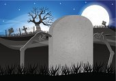 Tombstone,Funeral,Place of Burial,Horror,Tomb,Spooky,Backgrounds,Dark,Back Lit,Buried,Night,Cartoon,Cemetery,Death,Cross,Mystery,Gray,Silhouette,Memorial,Halloween,Vector,Ilustration,Stone Material,Grave,Dead