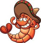 Shrimp,Hat,Relaxation,Comfortable,Ilustration,Smiling,Mexican Culture,Characters,Cartoon,Cute,Vector,Color Gradient,Isolated,Mexican Ethnicity