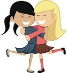 People,Friendship,Humor,Satisfaction,Surprise,Happiness,Enjoyment,Joy,Partnership - Teamwork,Dress,Homosexual,Cheerful,Long Hair,Blond Hair,Smiling,Embracing,Homosexual Couple,Sister,Black Color,Small,Greeting,Beauty,Fun,Child,Teenager,Adult,Cute,Blouse,Sock,Ponytail,Skirt,Illustration,Celebration,Cartoon,Females,Women,Teenage Girls,Fete,Family Reunion,Vector,Student,Adolescence,Beautiful People,Girlfriend,Reunion - Social Gathering
