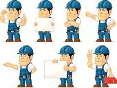 Mascot,Occupation,Manual Worker,Electrician,Engineer,Work Tool,Toolbox,Plumber,Mechanic,Construction Industry,Uniform,Repairman,Repairing,Smiling,Standing,Technician,Work Helmet,Hammer,Confidence,Thumbs Up,Cartoon,Vector,Blue,Service,Engine,Business,Customized,Foreman,Equipment,Young Adult,Industry,Men,Professional Occupation,Screwdriver,Machinery