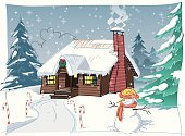 Winter,Christmas,Snow,Cabin,House,Snowman,Chalet,Christmas Tree,Residential Structure,Log,Tree,Vector,Log Cabin,Wreath,Comfortable,Holiday,Christmas Decoration,Ilustration,Wood - Material,Pine,Evergreen Tree,Candy Cane,Laurel Wreath,Pine Tree,Snowing,Decoration,Fun,Ice,Snowflake,Woodland,Cold - Termperature,Bow,Bow
