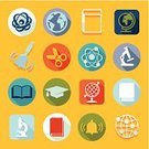 Learning,Graduation,Ilustration,University,Education,Collection,Geometric Shape,Computer Graphic,Book,Science,Creativity,Vector,Backgrounds,Symbol,Microscope,Sign,Teaching,school bell,Abstract