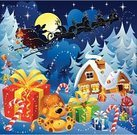 Santa Claus,Christmas,House,Reindeer,Sleigh,Cartoon,Landscape,Backgrounds,Magic,Winter,New,Year,Night,Design,Fun,Moon,Gift,Star - Space,Greeting,Abstract,Holiday,Cheerful,Art,Play,Happiness,Sky,January,Color Image,Cloud - Sky,Light - Natural Phenomenon,Ice,Decoration,Joy,Shadow,Celebration,Vector Cartoons,Beauty In Nature,Landscapes,Christmas,Nature,Cold - Temperature,December,Illustrations And Vector Art,Holidays And Celebrations