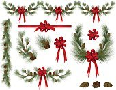 Christmas,Garland,Wreath,Bow,Christmas Decoration,Pine Cone,Stolen Goods,Branch,Pine Tree,Ribbon,Evergreen Tree,Red,Vector,Clip Art,Design Element,Twig,Decoration,Ilustration,Isolated,Candid,pine needles,Colors,Part Of