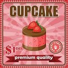 Cake,Anniversary,Symbol,Bakery,Dessert,Baked,Old-fashioned,Red,Cupcake,Menu,Food,Label,Ilustration,Pink Color,Celebration,Pastry Crust,Vector,Cooking,Birthday