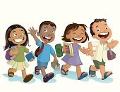 Child,Education,Student,Walking,Little Boys,Offspring,Preschool,Playing,Little Girls,Book,Childhood,Friendship,Asian Ethnicity,Cheerful,Laughing,Group Of People,Smiling,Happiness,Preschooler,Four People,East Asia,Illustrations And Vector Art,Vector Cartoons,People,Actions