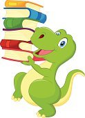 Tyrannosaurus Rex,Activity,Fun,Green Color,Humor,Cartoon,Lizard,Reading,Ilustration,Reptile,Happiness,Animals In The Wild,Ancient,Jurassic,Cheerful,Study,Studying,Education,Friendship,Prehistoric Era,Mascot,Animal,Book,Young Animal,Smiling,Characters,Carrying,Walking,Cute,Learning,Vector
