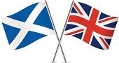 British Flag,Scotland,Scottish Flag,England,UK,Flag,Two Objects,White Background,Red,Blue,National Flag,Small,Europe,Waving,Ilustration,Symbol,Vector